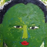 savarino_green_tara_8x10_w, Green Tara (small), Paola Savarino, 2004, Encaustic on canvas, Gallery East, Gallery East Boston, Paola Savarino, Savarino