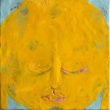 savarino_yellow_buddha_12x12w, Yellow Buddha, Paola Savarino, 2004, Encaustic on canvas, Gallery East, Gallery East Boston, Paola Savarino, Savarino