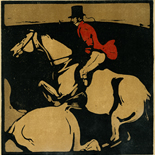 1898_nicholson_12sports01_7.75x7.75_dlw, January Hunting, William Nicholson, Nicholson, Beggarstaff, An Almanac of Twelve Sports, 1898, Lithograph, Gallery East, Gallery East Network