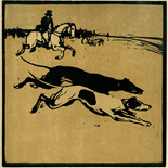 1898_nicholson_12sports02_7.75x7.75_dlw, February Coursing, William Nicholson, Nicholson, Beggarstaff, An Almanac of Twelve Sports, 1898, Lithograph, Gallery East, Gallery East Network