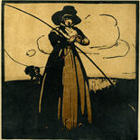 1898_nicholson_12sports05_7.75x7.75_dlw, May Fishing, William Nicholson, Nicholson, Beggarstaff, An Almanac of Twelve Sports, 1898, Lithograph, Gallery East, Gallery East Network