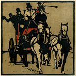 1898_nicholson_12sports08_7.75x7.75_dlw, August Coaching, William Nicholson, Nicholson, Beggarstaff, An Almanac of Twelve Sports, 1898, Lithograph, Gallery East, Gallery East Network