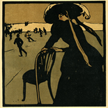 1898_nicholson_12sports12_7.75x7.75_dlw, December Skating, William Nicholson, Nicholson, Beggarstaff, An Almanac of Twelve Sports, 1898, Lithograph, Gallery East, Gallery East Network