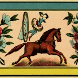 1890c_label_equestrian_circus_2.5x5.25_dlw, Equestrian Circus, 1890c, Lithograph, Label, Objets, Gallery East Network, Gallery East