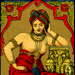 1900c_cr_red_odalisque_2.5x5.5_dlw, Red Odalisque, Belgian dye label, Lithograph, 1900c, Objets, Gallery East, Gallery East Network