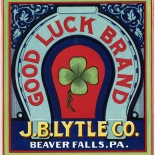 1910c_label_good_luck_brand_9x9.75_dlw, Good Luck Brand, JB Lytle Co, 1910c, Lithograph, Label, Objets, Gallery East Network, Gallery East