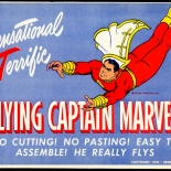1944_flying_captain_marvel_01_dlw, Flying Captain Marvel, Reed & Associates, 1944, Cardboard, Lithograph, Toy, Objets d'art, Gallery East, Objets, Gallery East Network