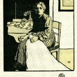 1905_emil_orlik_studio_folio_6.5x6.5_dlw, Die Naherin (The Seamstress), Emil Orlik, 1905, Woodcuts. Gallery East, Gallery East Network
