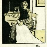 1905_emil_orlik_studio_folio_6.5x6.5_dlw, Die Naherin (The Seamstress), Emil Orlik, 1905, Woodcuts. Gallery East, Gallery East Network