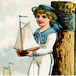 1800c_vtc_sailor_boy_3x4.5_dlw, Art Nouveau, Sailor Boy, Shorer & Carqueville Lith., Victorian Trade Card, 1880c, Lithograph, Objets d'art, Gallery East, Objets, Gallery East Network