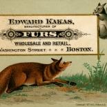 1877_vtc_kakas_furs_2.75x4.25_dlw, Art Nouveau, Kakas Furs, L. PRANG & Co, Victorian Trade Card, 1877, Lithograph, Objets d'art, Gallery East, Objets, Gallery East Network