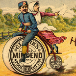1880c_vtc_bike_race_2.75x4.5_dlw, Mile End Bike Race, Art Nouveau, Clark's, Victorian Trade Card, 1880c, Lithograph, Objets d'art, Gallery East, Objets, Gallery East Network