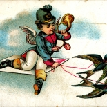 1880c_vtc_boy_swallows_2.75x4.25_dlw, Angel Boy & Swallows, Art Nouveau, Quaker Bread , Victorian Trade Card, 1880c, Lithograph, Objets d'art, Gallery East, Objets, Gallery East Network
