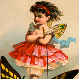 1880c_vtc_butterfly_maitresse_3.5x4.75_dlw, Butterfly Maitresse , Art Nouveau, Victorian Trade Card, 1880c, Lithograph, Objets d'art, Gallery East, Objets, Gallery East Network