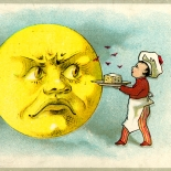1880c_vtc_cheese_moon_2.75x4.25_dlw, Art Nouveau, Cheese Moon, Edna Piano, EdnaPiano, Victorian Trade Card, 1880c Lithograph, Objets d'art, Gallery East, Objets, Gallery East Network