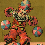 1880c_vtc_clown_balls_2.75x4.25_dlw, Art Nouveau, Clown Balls, Victorian Trade Card, c 1880, Lithograph, Objets d'art, Gallery East, Objets, Gallery East Network