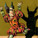 1880c_vtc_scared_clown_2.75x4.25_dlw, Art Nouveau, Scared Clown, Victorian Trade Card, c 1880, Lithograph, Objets d'art, Gallery East, Objets, Gallery East Network