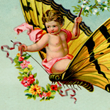 1890c_vtc_cherub_riding_butterfly_3.5x4.75_dlw, Art Nouveau, Cherub Riding a Butterfly, J Single, Victorian Trade Card, c 1890, Lithograph, Objets d'art, Gallery East, Objets, Gallery East Network
