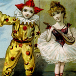 1890c_vtc_clown_ballerina_3.25x5_dlw, Art Nouveau, Clown & Ballerina, Woodlawn Stove, Victorian Trade Card, c1880, Lithograph, Objets d'art, Gallery East, Objets, Gallery East Network