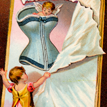 1890c_vtc_corset_warner_bros_3x5_dlw, Art Nouveau, Dr. Warner's Corsets, Warner Brothers, Victorian Trade Card, c1880, Lithograph, Objets d'art, Gallery East, Objets, Gallery East Network