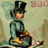 1890c_vtc_lady_goose_rider_3.25x5.25_dlw, Art Nouveau, Lady Goose Rider, Grandss Magazins, Victorian Trade Card, c1890, Lithograph, Objets d'art, Gallery East, Objets, Gallery East Network