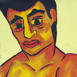 03_1989_tomasino_oscar_in_underwear_w, Oscar in Underwear, Walter Tomasino, 1989, Watercolor on paper, Back Alley Machismo, Expressionist, Punk, Homoerotic Art. Gallery East, Tomasino, Gallery East Network