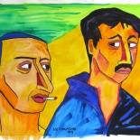 04_2009_tomasino_2brothers_rocco_gio_w640, Two Brothers: Rocco and Gio, Walter Tomasino, 2009, Watercolor on paper, Back Alley Machismo, Expressionist, Punk, Homoerotic Art. Gallery East, Tomasino, Gallery East Network