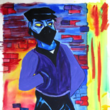 05_2005_tomasino_mugger_w, Mugger, Walter Tomasino, 2005, Watercolor on paper, Back Alley Machismo, Expressionist, Punk, Homoerotic Art. Gallery East, Tomasino, Gallery East Network