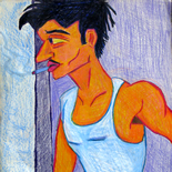 07_1989_tomasino_man_in_morning, Man in the Morning, Walter Tomasino, 1989, Color pencil on paper, Back Alley Machismo, Expressionist, Punk, Homoerotic Art. Gallery East, Tomasino, Gallery East Network