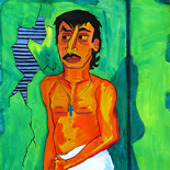 08_2005_tomasino_jairo_in_hallway_w, Jairo in the Hallway, Walter Tomasino, 2005, Watercolor on paper, Back Alley Machismo, Expressionist, Punk, Homoerotic Art. Gallery East, Tomasino, Gallery East Network