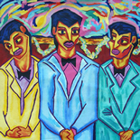 09_1990_tomasino_spanish_boys_at_reception_w, Spanish Boys at a Reception, Walter Tomasino, 1990, Acrylic wall hanging on canvas, Back Alley Machismo, Expressionist, Punk, Homoerotic Art. Gallery East, Tomasino, Gallery East Network