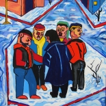10_2009_tomasino_winter_st_scene_w, Winter Street Scene, Walter Tomasino, 2009, Acrylic on canvas, Back Alley Machismo, Expressionist, Punk, Homoerotic Art. Gallery East, Tomasino, Gallery East Network