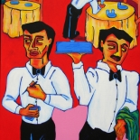 11_2007_tomasino_italian_waiters_w, Italian Waiters, Walter Tomasino, 2007, Acrylic on canvas, Back Alley Machismo, Expressionist, Punk, Homoerotic Art. Gallery East, Tomasino, Gallery East Network