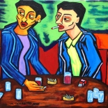 12_1989_tomasino_2men_in_cafe_w640, Two Men in a Cafe, Walter Tomasino, 1989, Acrylic on canvas, Back Alley Machismo, Expressionist, Punk, Homoerotic Art. Gallery East, Tomasino, Gallery East Network
