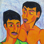 13_1989_tomasino_two_brothers_w, Two Brothers, Walter Tomasino, 1989, Color pencil on paper, Back Alley Machismo, Expressionist, Punk, Homoerotic Art. Gallery East, Tomasino, Gallery East Network