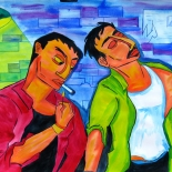 14_2005_tomasino_two_guys_in_alley_w640, Two Guys in an Alley, Walter Tomasino, 2005, Watercolor on paper, Back Alley Machismo, Expressionist, Punk, Homoerotic Art. Gallery East, Tomasino, Gallery East Network