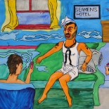 15_2011_tomasino_memory_of_sailor_hash_w640, Memory of the Sailor Who Use to Bring Has, Walter Tomasino, 2011, Watercolor on paper, Back Alley Machismo, Expressionist, Punk, Homoerotic Art. Gallery East, Tomasino, Gallery East Network