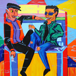 17_2006_tomasino_jules_lenny_jukebox_w, Jules and Lenny on a Jukebox, Walter Tomasino, 2006, Acrylic on canvas, Back Alley Machismo, Expressionist, Punk, Homoerotic Art. Gallery East, Tomasino, Gallery East Network