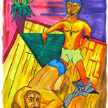 18_2006_tomasino_right_here_on_the_floor_man_w, Right Here on the Floor Man, Walter Tomasino, 2006, Watercolor on paper, Back Alley Machismo, Expressionist, Punk, Homoerotic Art. Gallery East, Tomasino, Gallery East Network