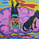 img_5491, Walter Tomasino, On the cloud with a Dog, 2006, Acrylic on canvas, Hungry Canines, Gallery East, Expressionist, Punk, Tomasino, Gallery East Network