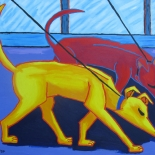 img_5499, Walter Tomasino, Sniffing Dog Patrol, 2007, Acrylic on canvas, Hungry Canines, Gallery East, Expressionist, Punk, Tomasino, Gallery East Network