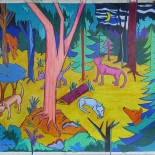 img_5526, Walter Tomasino, Dogs in the Woods at Night, 2010, Acrylic on canvas, Hungry Canines, Gallery East, Expressionist, Punk, Tomasino, Gallery East Network