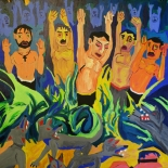 03_2014_tomasino_jails_in_the_jungle_w, Jails in the Jungle, Walter Tomasino, 2014, Acrylic on canvas, Secret Prisoners, Expressionist, Punk, Gallery East, Tomasino, Gallery East Network