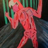 05_2014_tomasino_accused_man_in_a_cage_w, Accused Man in a Cage, Walter Tomasino, 2014, Acrylic on canvas, Secret Prisoners, Expressionist, Punk, Gallery East, Tomasino, Gallery East Network