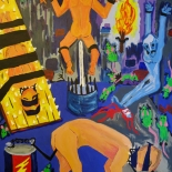 07_2014_tomasino_interrogation_room_w, Interrogation Room, Walter Tomasino, 2014, Acrylic on canvas, Secret Prisoners, Expressionist, Punk, Gallery East, Tomasino, Gallery East Network