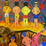 08_2014_tomasino_prisoners_dig_graves_w, Prisoners Dig Graves at Night, Walter Tomasino, 2014, Acrylic on canvas, Secret Prisoners, Expressionist, Punk, Gallery East, Tomasino, Gallery East Network