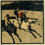 1898_nicholson_12sports03_7.75x7.75_dlw, March Racing, William Nicholson, Nicholson, Beggarstaff, An Almanac of Twelve Sports, 1898, Lithograph, Gallery East, Gallery East Network