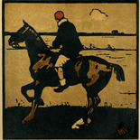 1898_nicholson_12sports04_7.75x7.75_dlw, April Boating, William Nicholson, Nicholson, Beggarstaff, An Almanac of Twelve Sports, 1898, Lithograph, Gallery East, Gallery East Network