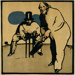 1898_nicholson_12sports06_7.75x7.75_dlw, June Cricket, William Nicholson, Nicholson, Beggarstaff, An Almanac of Twelve Sports, 1898, Lithograph, Gallery East, Gallery East Network