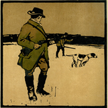 1898_nicholson_12sports09_7.75x7.75_dlw, September Shooting, William Nicholson, Nicholson, Beggarstaff, An Almanac of Twelve Sports, 1898, Lithograph, Gallery East, Gallery East Network
